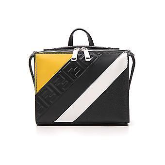 حقيبة جلدية فيندي أصفر/أسود