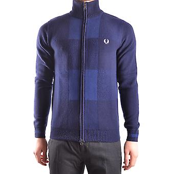 Fred Perry blå uld Cardigan