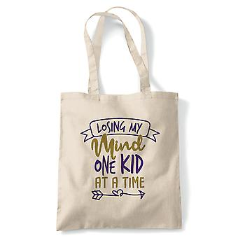 Losing My Mind One Kid At A Time Funny Tote | Reusable Shopping Cotton Canvas Long Handled Natural Shopper Eco-Friendly Fashion | Gym Book Bag Birthday Present Gift Her | Multiple Colours Available
