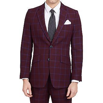 Dobell Mens Borgogna tuta giacca Slim Fit tacca bavero Windowpane blu Check