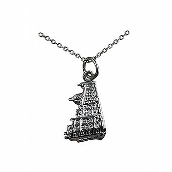 Silver 12x16mm Harrods building Pendant with a rolo Chain 14 inches Only Suitable for Children