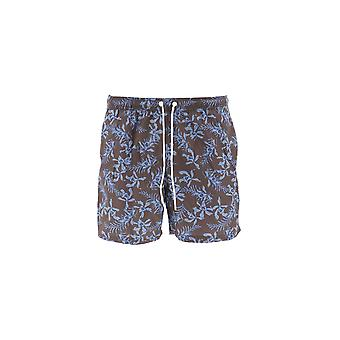 Paolo Pecora Light Blue/brown Polyester Trunks