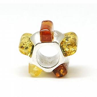TOC BEADZ  925 Silver Multi Colour Amber Stone 7mm Bead
