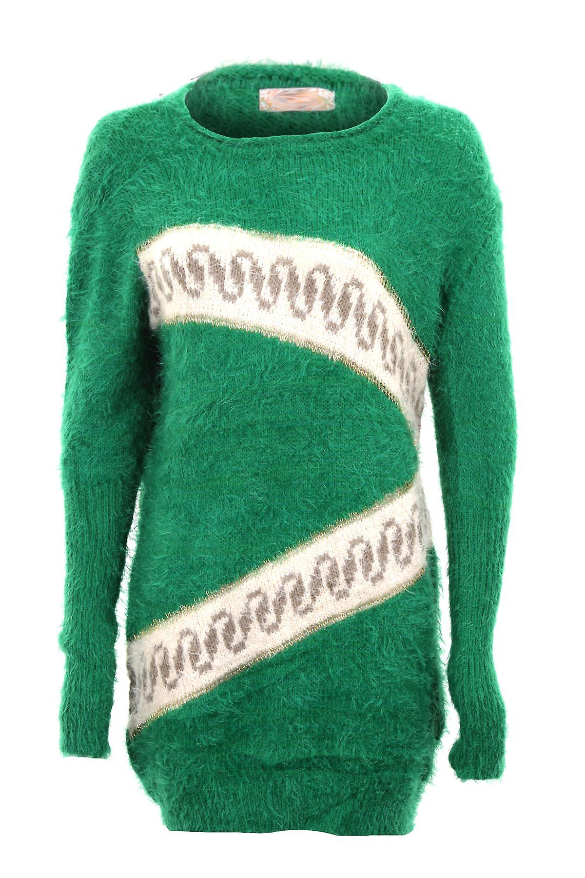 Ladies Long Sleeve Zigzag Print Fur Warm Winter Sweater Women's Jumper