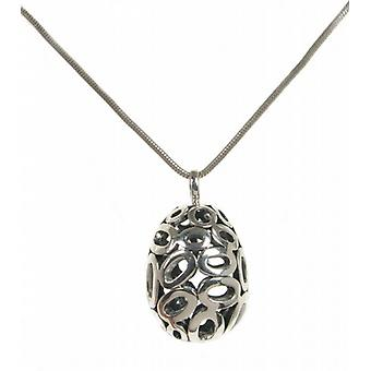 "Cavendish French Ornate silver filigree egg pendant with 16 - 18"" Silver Chain"