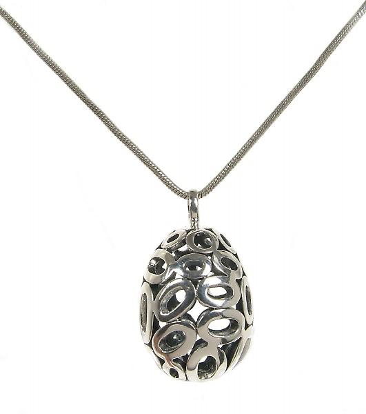 Cavendish French Ornate silver filigree egg pendant without Chain