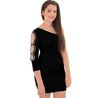 Ladies en skulder Diamante kuttet ut Ruched Party kvinners Bodycon kjole