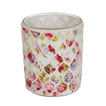 Straits Floral Tealight Holder, Red 8.5cm