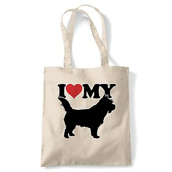 I Love My Norwich Terrier Tote | Crufts Dog Show Kennel Club Pedigree Breed Puppy | Reusable Shopping Cotton Canvas Long Handled Natural Shopper Eco-Friendly Fashion