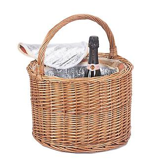 Autumn Red Round Chiller Wicker Basket
