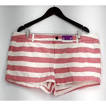 Merona Plus Shorts Striped Print Slant Pockets Red Nouveau