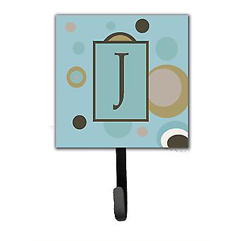 Letter J Initial Monogram - Blue Dots Leash Holder or Key Hook