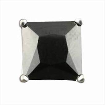 Urban Male Single Silber Quadrat schwarz CZ Herren Ohrstecker 8mm