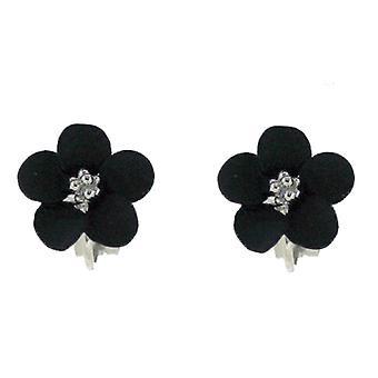 Clip On Earrings Store Petite Silver Plated Matt Black Daisy Flower Clip on Earrings