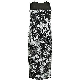 Sort & hvid sommerfugl Print Maxi kjole med Mesh skulder Panel