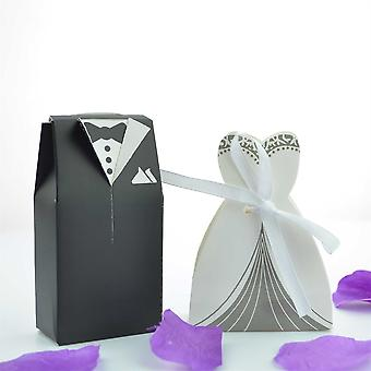 Viskey Double-breasted Bride and Groom Wedding Gift Paper Boxes, Pack of 100