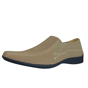 US Brass Cresta 2 Mens Slip On Loafers / Shoes - Mushroom