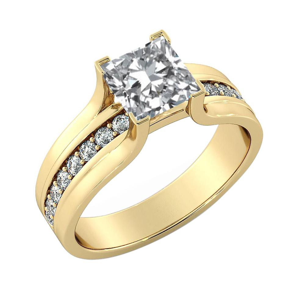 1.45 Carat E SI2 Diamond Engagement Ring 14K Yellow Gold Solitaire w Accents Bridge Princess