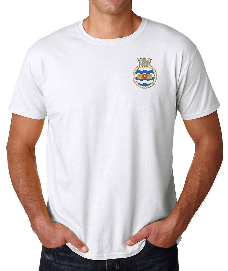 HMS Walney broderad Logo - officiell Royal Navy ringspunnen T Shirt