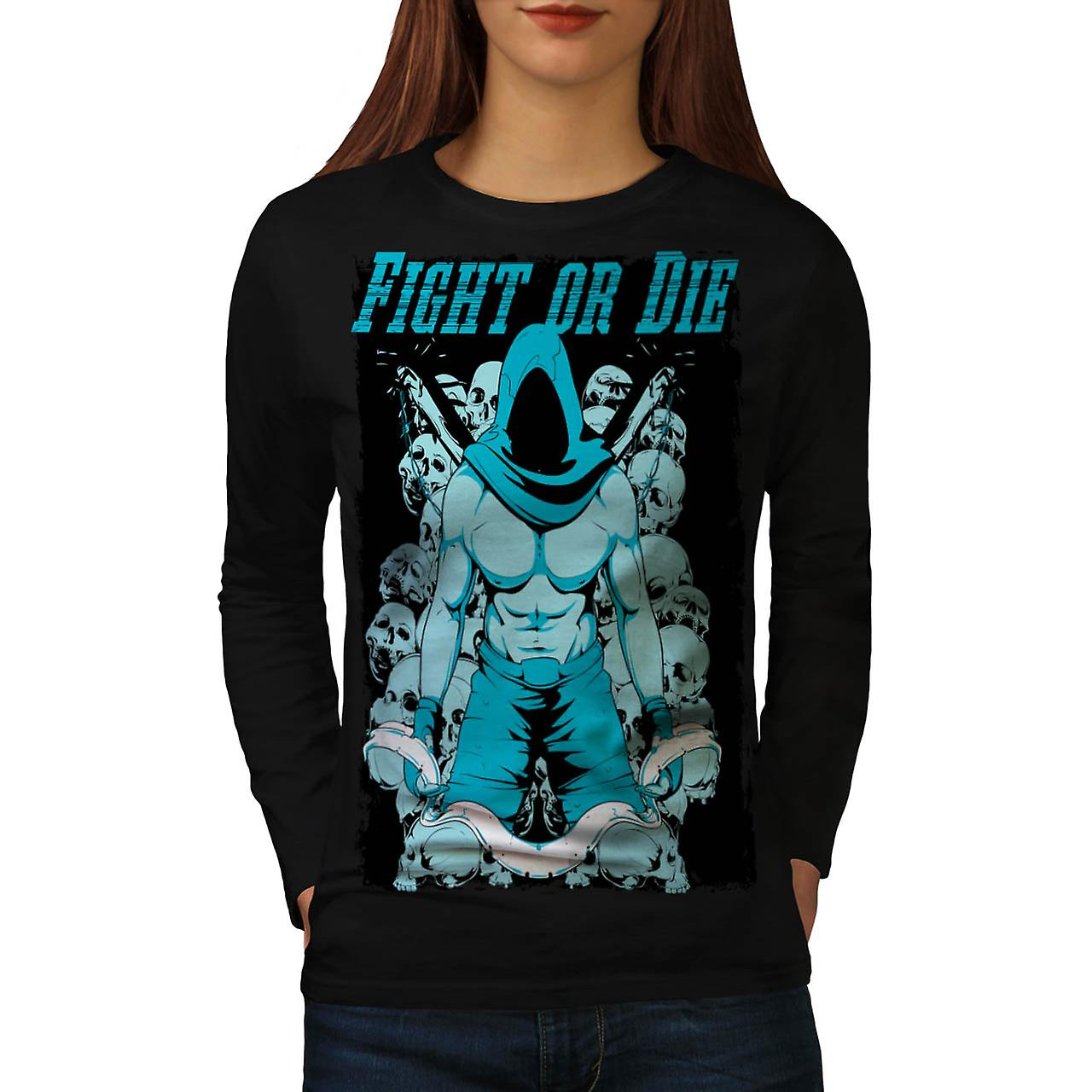 Fight Or Die Gym Sport Women Black Long Sleeve T-shirt | Wellcoda