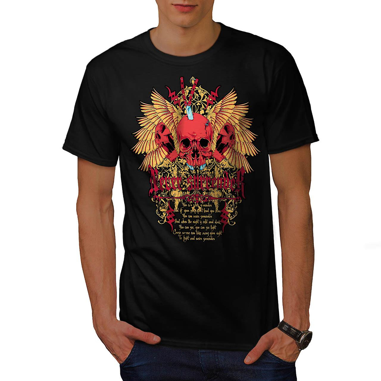 Never Surrender Skull Curse Head Men Black T-shirt | Wellcoda