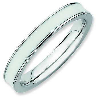 Sterling Silver Stackable Expressions White Enameled 3.25mm Ring - Ring Size: 5 to 10