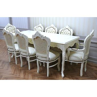 baroque dining room table armchair carved creme white beige antique style  AlEs0690We