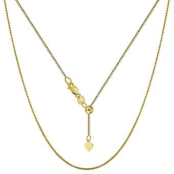 10 k Yellow Gold verstelbare Box Link Chain ketting, 0.7 mm, 22