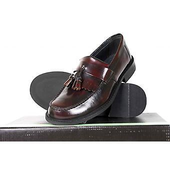 Roamers Mens Toggle Saddle Real Leather Casual Loafer OXBLOOD Red Mod Shoes Size 6