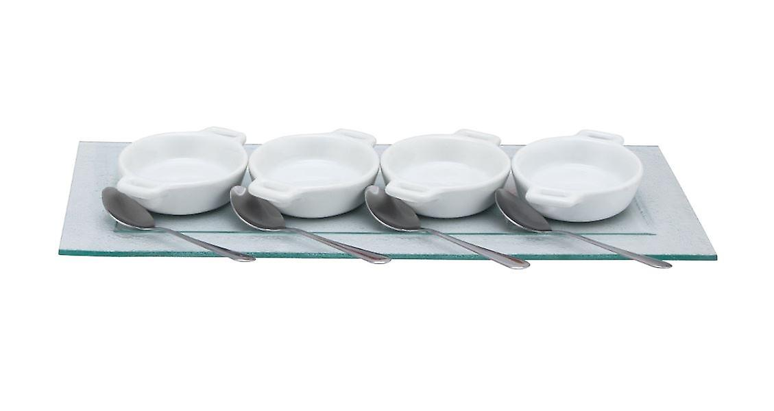 9Pc Mini White Ceramic Gratin Bowls with Spoons and Glass Serving Tray