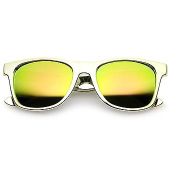 Retro Metallic Square Colored Mirror Lens Horn Rimmed Sunglasses 55mm