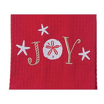 Red and White Joy Christmas Holiday Embroidered Waffle Weave Kitchen Dish Towel