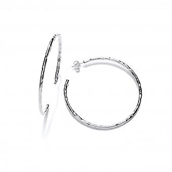 Cavendish French Sterling Silver Hammered Large Slim Hoop Earrings