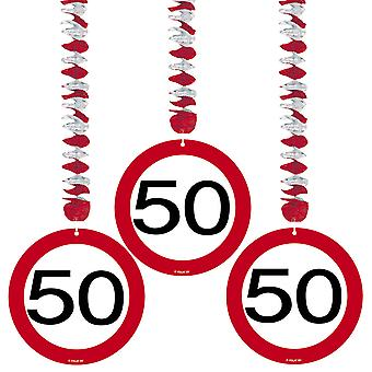 Spiral Garland 3 St. traffic sign number 50 birthday rotor spirals