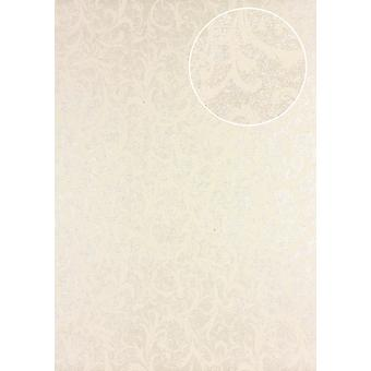 Baroque wallpaper Atlas PRI-523-3 non-woven wallpaper smooth with floral ornaments shimmering beige ivory green beige 5.33 m2