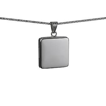 Silver 22mm flat square plain Locket with a curb Chain 24 inches