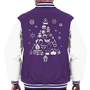 Breaking Bad Christmas Tree Silhouette White Men's Varsity Jacket