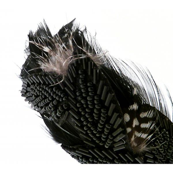 W.A.T Wide Satin Feather And Black Bead Hairband