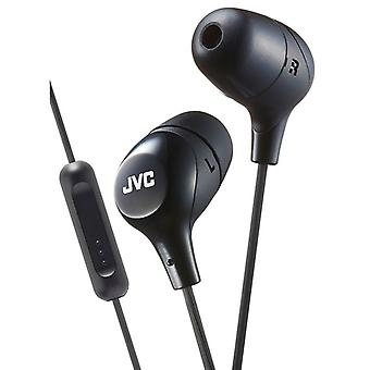 JVC In-Ear Headphones with 1 Button Remote Control And Mic - Black (HAFX38MB)