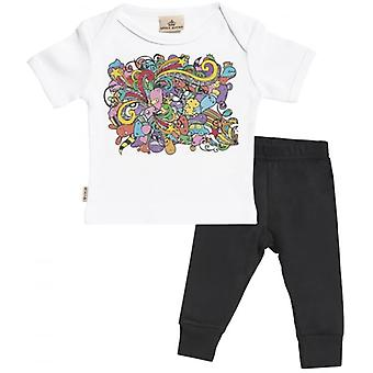 Spoilt Rotten Cartoon Print Baby T-Shirt & Baby Jersey Trousers Outfit Set
