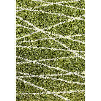 Grøn geometrisk Shaggy tæppe - Helsinki