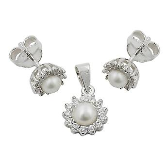 Jewelry set earrings and pendant flower with Pearl 925 sterling silver