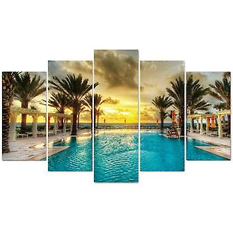 Wellindal Pyramid 5 Pieces Canvas Palm And Pool- Hpp049-87