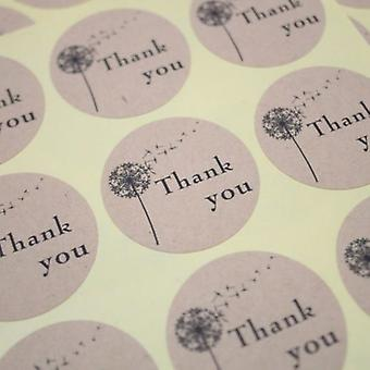 Round Dandelion Thank you Kraft Seal Sticker - Wedding / Craft / Favours x 36