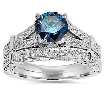1ct Vintage Blue Diamond Engagement Ring Set 14K White Gold