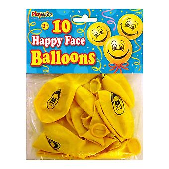 10 Happy Face Balloons