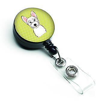 Checkerboard Lime Green Westie Retractable Badge Reel