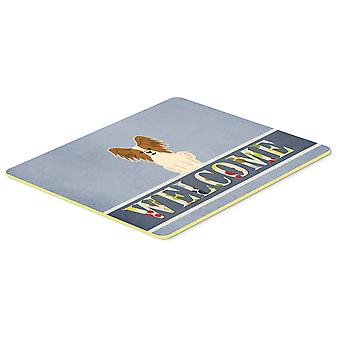 Papillon Red White Welcome Kitchen or Bath Mat 20x30
