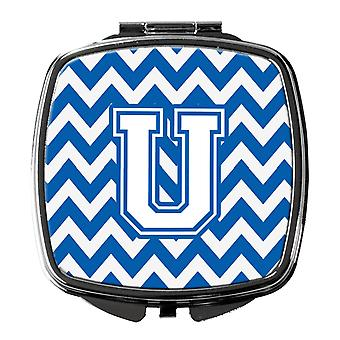 Carolines Treasures  CJ1045-USCM Letter U Chevron Blue and White Compact Mirror