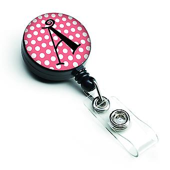 Letra un monograma - carrete de gafete retráctil rosa topos negros